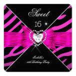 Sweet 16 Sweet Sixteen Hot Pink Black Zebra 2 Personalized Invites