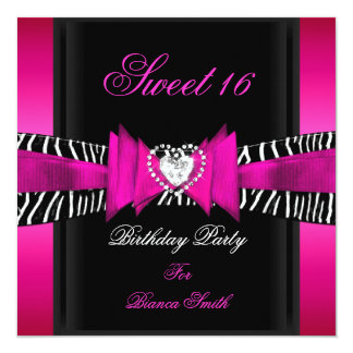 Sweet 16 Sweet Sixteen Hot Pink Black Zebra Card
