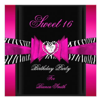 Sweet 16 Sweet Sixteen Hot Pink Black Zebra Personalized Invite