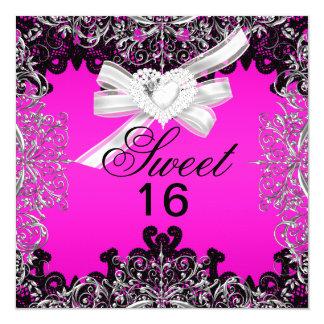Sweet 16 Sweet Sixteen Hot Pink White Black Lace Card
