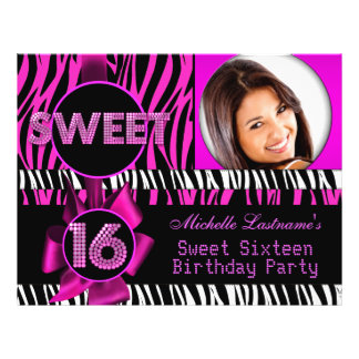 "Sweet 16 Sweet Sixteen Hot Pink Zebra Photo 8.5"" X 11"" Flyer"