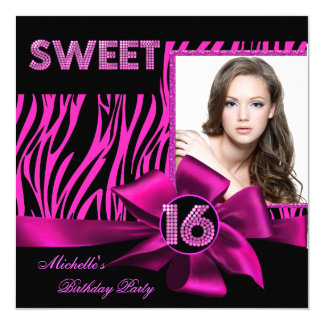 Sweet 16 Sweet Sixteen Hot Pink Zebra Photo Card