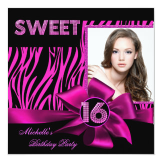 Sweet 16 Sweet Sixteen Hot Pink Zebra Photo Custom Invite