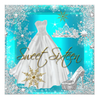 Sweet 16 Sweet Sixteen Hot Teal White Gold Elite 5.25x5.25 Square Paper Invitation Card