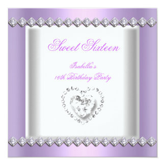 Sweet 16 Sweet Sixteen Lilac Diamonds Lace Image Card