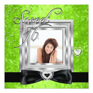 Sweet 16 Sweet Sixteen Lime Black Photo Card