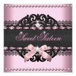 Sweet 16 Sweet Sixteen Pink Black Lace Bow Custom Invitation