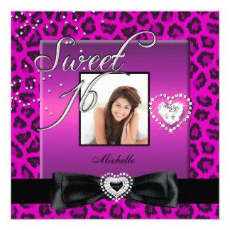 Sweet 16 Sweet Sixteen Pink Black Leopard Photo Invitation