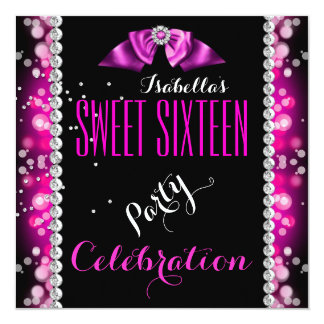 Sweet 16 Sweet Sixteen Pink Bubbles Birthday Party Card