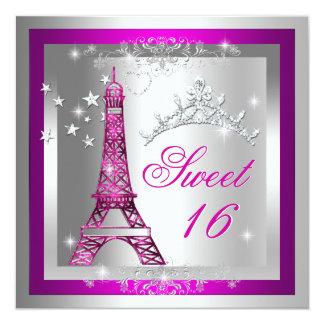 Sweet 16 Sweet Sixteen Pink Tiara Eiffel Tower 5.25x5.25 Square Paper Invitation Card