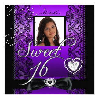 Sweet 16 Sweet Sixteen Purple Black Lace Photo Custom Announcements