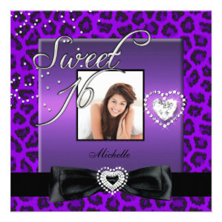 Sweet 16 Sweet Sixteen Purple Black Leopard Photo Invite
