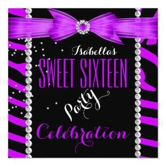 "Sweet 16 Sweet Sixteen Purple Zebra Birthday 5.25"" Square Invitation Card"
