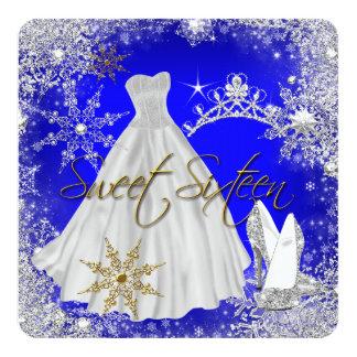 Sweet 16 Sweet Sixteen Royal Blue White Snowflakes Card