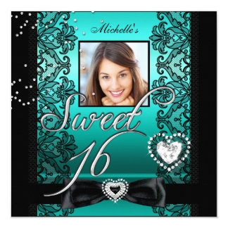 Sweet 16 Sweet Sixteen Teal Black Lace Photo 5.25x5.25 Square Paper Invitation Card