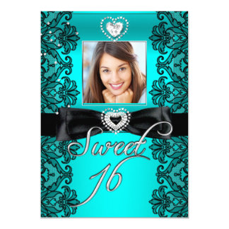 Sweet 16 Sweet Sixteen Teal Black Lace Photo 5x7 Paper Invitation Card