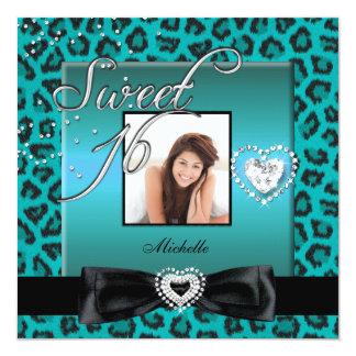 Sweet 16 Sweet Sixteen Teal Black Leopard Photo 5.25x5.25 Square Paper Invitation Card