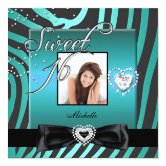 Sweet 16 Sweet Sixteen Teal Black Zebra Photo 5.25x5.25 Square Paper Invitation Card