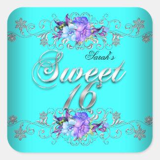 Sweet 16 Sweet Sixteen Teal Purple Flowers Stickers