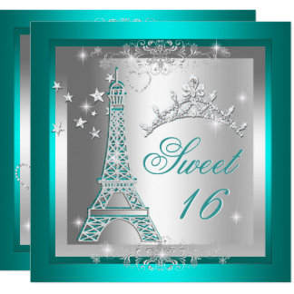 Sweet 16 Sweet Sixteen Teal Tiara Eiffel Tower Card