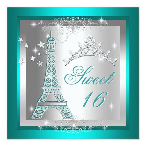 Sweet 16 Sweet Sixteen Teal Tiara Eiffel Tower Card | Zazzle
