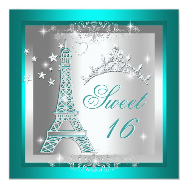 Sweet 16 Sweet Sixteen Teal Tiara Eiffel Tower Card