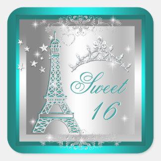 Sweet 16 Sweet Sixteen Teal Tiara Eiffel Tower Square Sticker