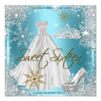 Sweet 16 Sweet Sixteen Teal White Gold Elite Custom Announcement