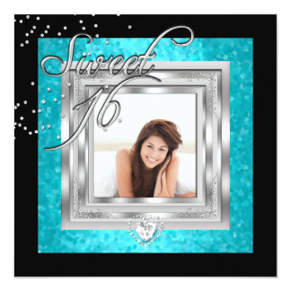 Sweet 16 Sweet Sixteen Turquoise Black Photo 5.25x5.25 Square Paper Invitation Card