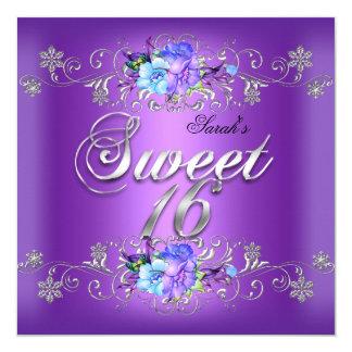 Sweet 16 Sweet Sixteen White Purple Flowers 5.25x5.25 Square Paper Invitation Card