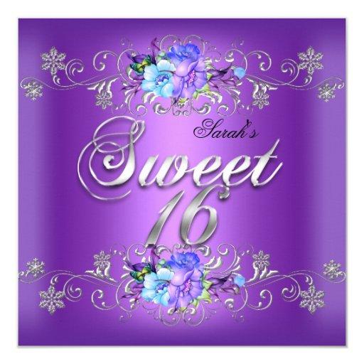 Happy 16th Birthday Gift Ideas Spaceform Sweet Sixteen: Sweet 16 Sweet Sixteen White Purple Flowers Invitation
