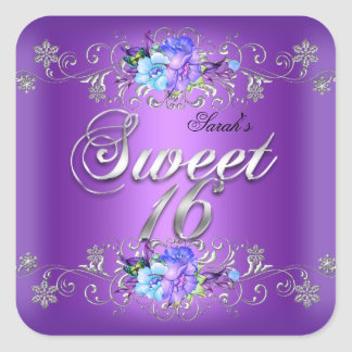 Sweet 16 Sweet Sixteen White Purple Flowers Square Sticker