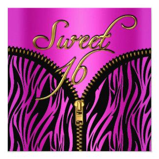 Sweet 16 Sweet Sixteen Zebra Hot Pink Gold Black Card