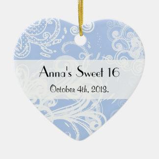 Sweet 16 - Swirled Pattern, Swirly Style - Blue Ceramic Ornament