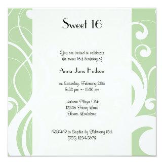 Sweet 16 - Swirled Pattern, Swirly Style - Green Card