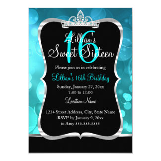 Sweet 16 Teal Blue Black Tiara Invitation