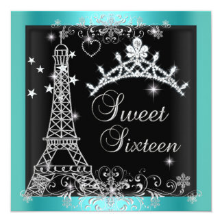 Sweet 16 Teal Blue Glitter Tiara Eiffel Tower 2 Card