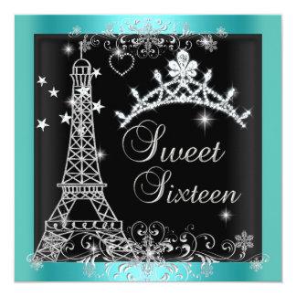 Sweet 16 Teal Blue Glitter Tiara Eiffel Tower 2 5.25x5.25 Square Paper Invitation Card