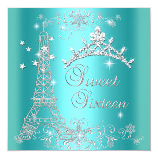 Sweet 16 Teal Blue Glitter Tiara Eiffel Tower Card