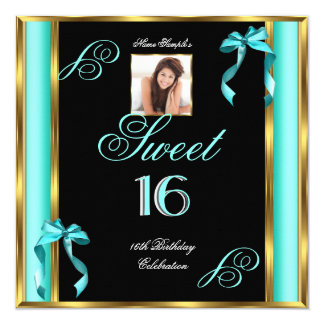 Sweet 16 Teal Blue Gold Photo 16th Birthday P2 5.25x5.25 Square Paper Invitation Card