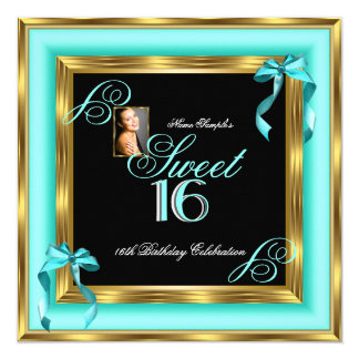 Sweet 16 Teal Blue Gold Photo 16th Birthday Party 5.25x5.25 Square Paper Invitation Card