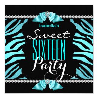 Sweet 16 Teal Blue Zebra Black White Birthday Card