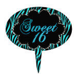 Sweet 16 Teal Blue Zebra Black White Party Cake Cake Topper