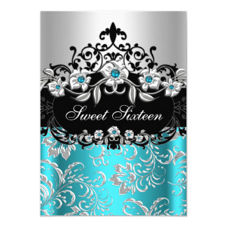 Sweet 16 Teal Silver Black Floral Jewel Party 5x7 Paper Invitation Card