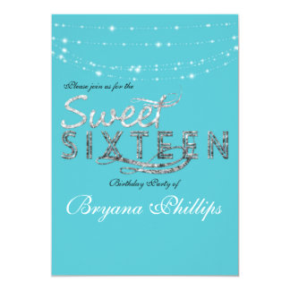 Sweet 16 Teal Turquoise Glitter Birthday Party Card