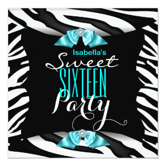 Sweet 16 Teal Zebra Black White Birthday Party 6a Card
