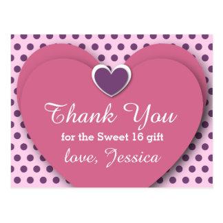 SWEET 16 Thank You Hearts Dots B03 PURPLE Postcards
