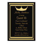 Sweet 16 Tiara Black & Gold Customizable Custom Announcements