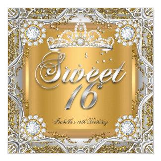 Sweet 16 Tiara Gold Silver Diamond Birthday Party Card