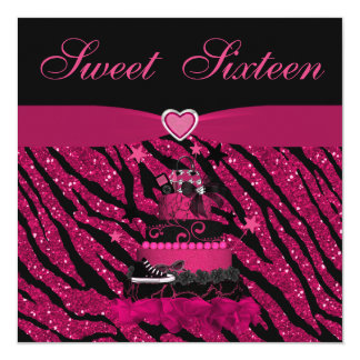 Sweet 16 Trendy Pink Cake & Zebra Stripes Card